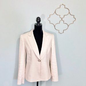 Tahari cream linen blend single button blazer